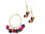 LOOT LO : FREE Multicolor Boho Pom Pom Bracelet & Earrings Set Worth Rs. 299