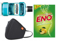 Wildcraft Mask [Pack of 2]+ Eno [12 Pcs]+ Listerine Rs.17 Each With Shipping