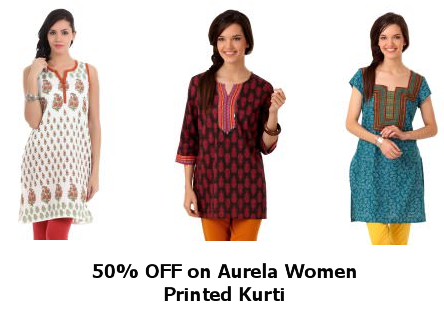 d3be0235f2b1 [50% OFF] Aurela Women Printed Kurti at Rs.225 at Myntra.com at  FreeKaaMaal.com