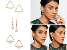 Festive Offer - Gold Pearl Stud Earrings (3Pcs) At Rs.33 Each