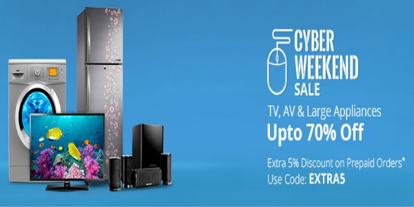 Cyber Weekend Sale - Upto 75% Off On Electronics + 5% Off discount offer  image 5