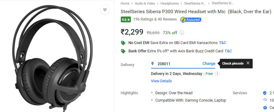 c3306ef1984 Loot Price:- SteelSeries Siberia P300 Headset with Mic at Lowest ...