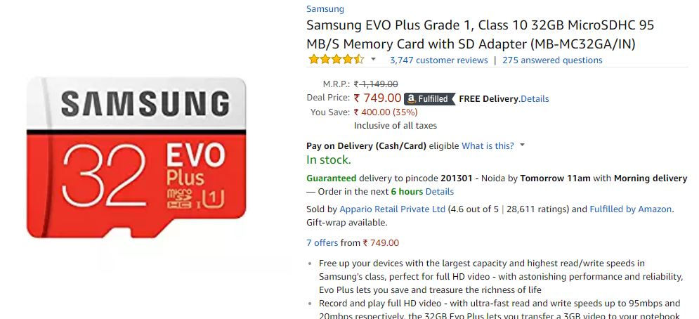 Samsung EVO Class 10 32GB Memory Card at LOWEST ONLINE low price image 1
