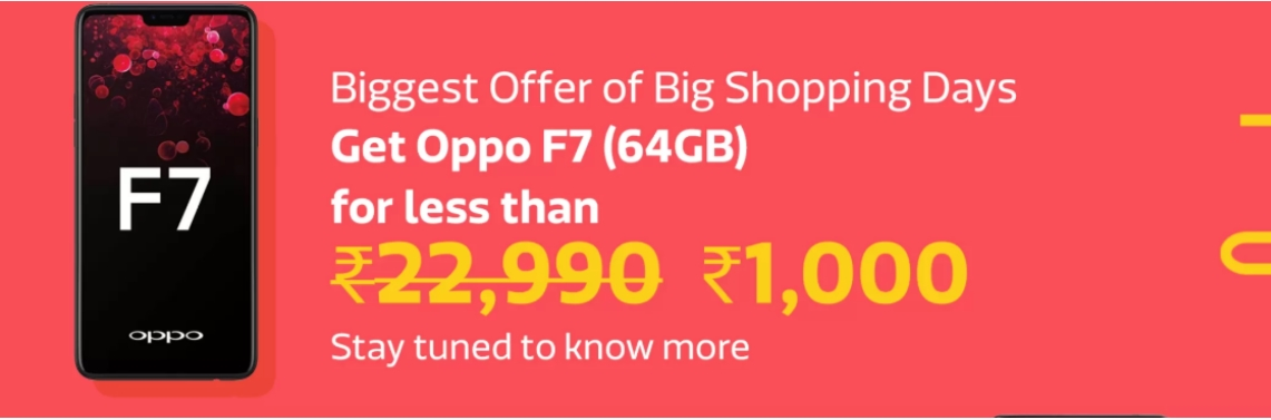 Crazy Deals On Mobile Big Shopping Days - Oppo F7 at Less Than Rs. 1000 low price image 1