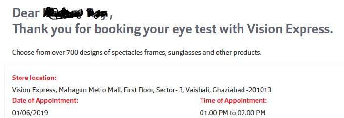 Free Eye Test With Vision Express India !! Book Your