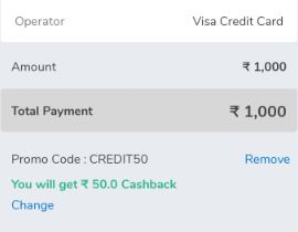 Pay Rs  1000 & Get Rs  50 Cashback Credit card Bill [Not