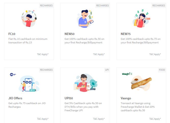 Freecharge Offers: 100% cashback upto Rs  100 [App only] at