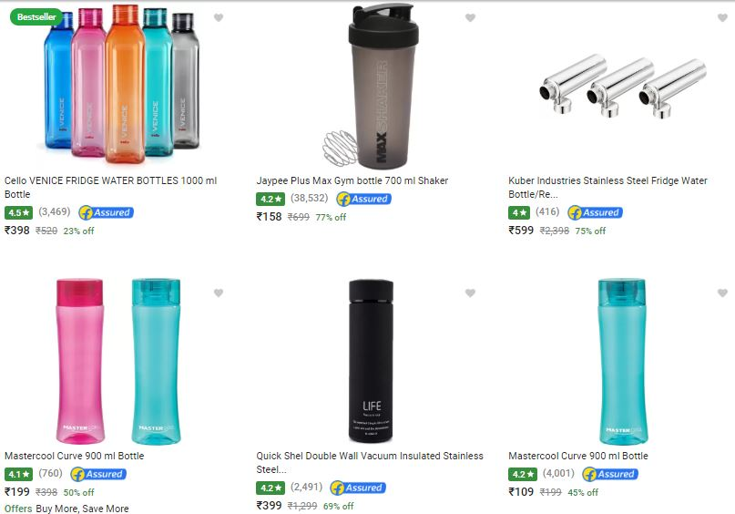 a691d0330 Cello   More Brands Water Bottles Up to 80% Off + 6% FKM Cashback at ...