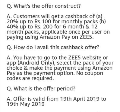 Collect Zee5 Offer & Grab Up To Rs 200 Cashback Via Amazon Pay at
