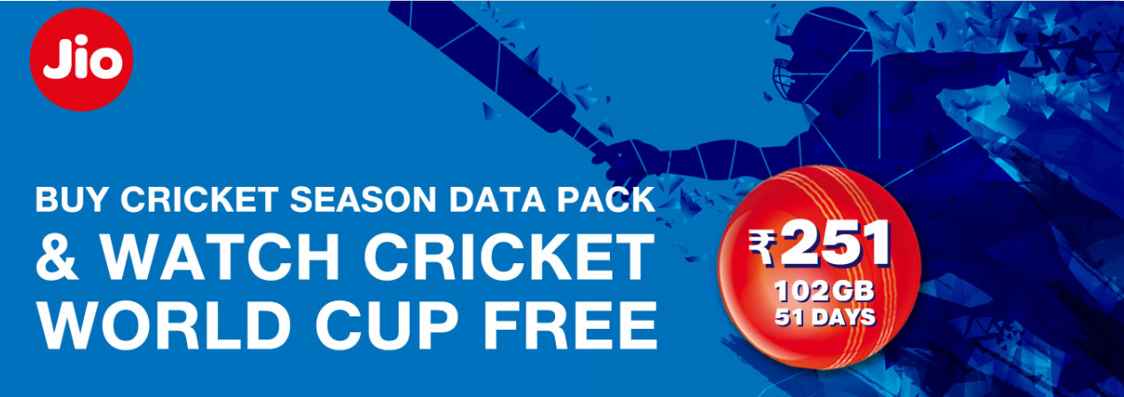 Jio Cricket Season Pack - Get 102 GB Data At Rs 251