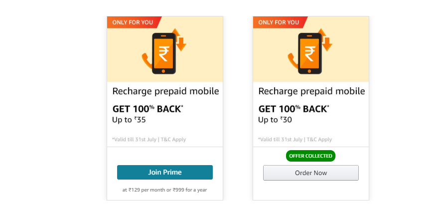 Amazon Pay Recharge offers - 100% Cashback On Mobile Recharge [August]
