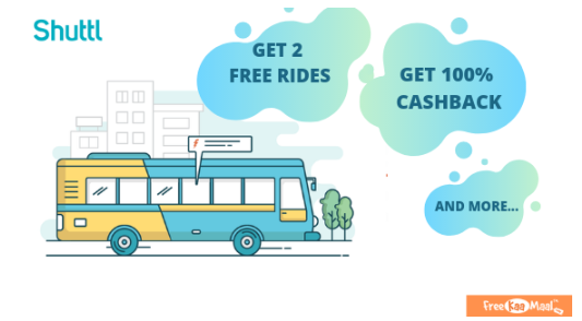 Shuttl Offers And Coupons - Get 2 free Rides using Freecharge