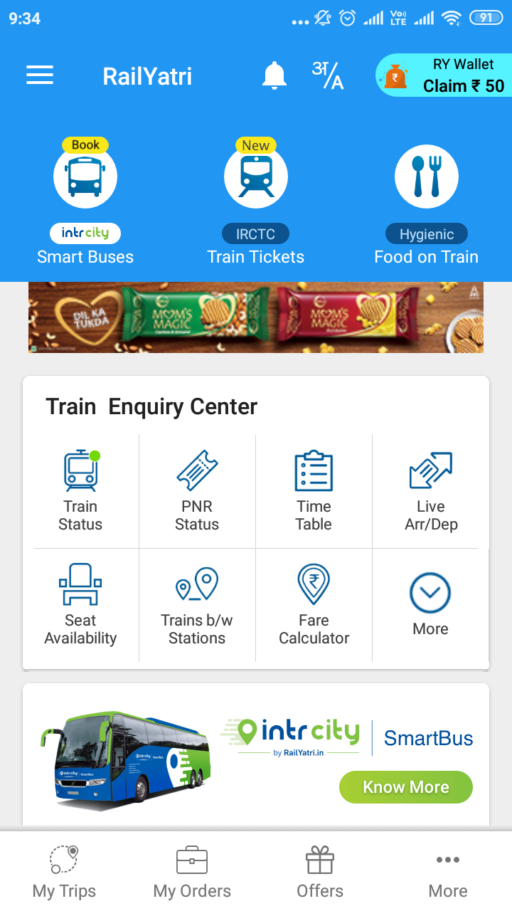 Railyatri Home screen