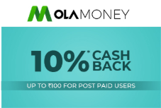 10% cashback on Ola Money Post-paid up to INR 100 Valid on first transaction on Medlife Via OLA Post-paid Valid only for post-paid users Validity from 1st August to 31st August 2019 Cashback will be credited to your Active Ola Money Post-paid/ Wallet Account