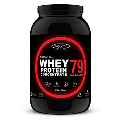 Sinew Nutrition Instantised Whey Protein Concentrate 79%, 1 Kg (Unflavoured)