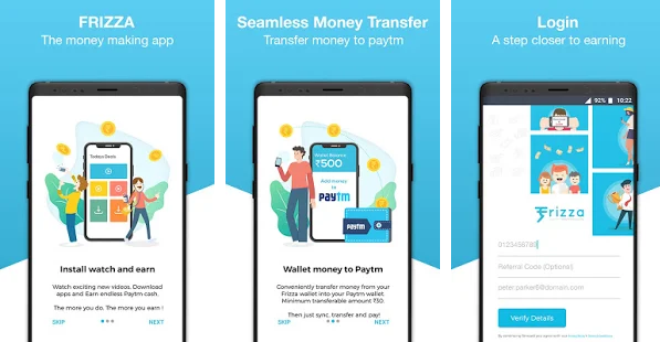 Frizza Referral Code Earn Free Paytm Cash Online
