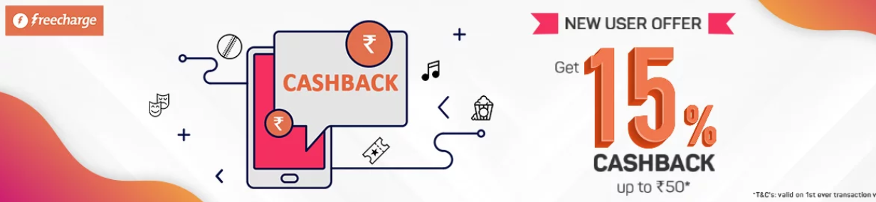 Freecharge Offer For BookMyShow: Get 15% Cashback