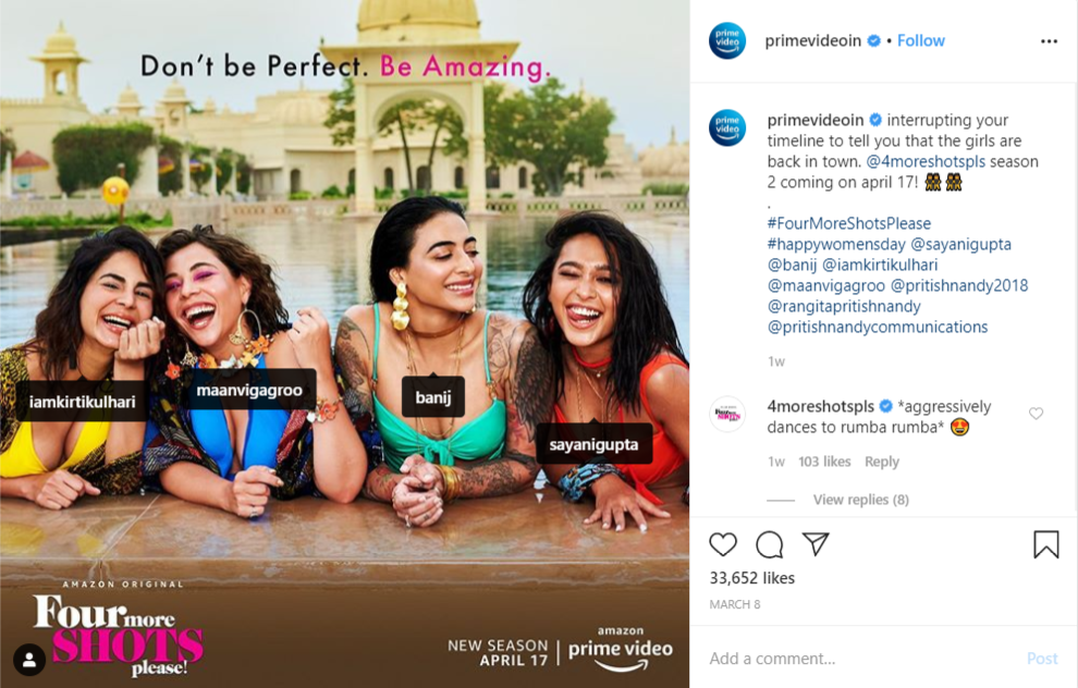 The season 2 of Four More Shots Please is coming in April 2020. The story of 4 badass girls will continue to air on Amazon Prime from April 17, 2020. Amazon Prime Video took on Instagram to announce that the second season of the series is coming.