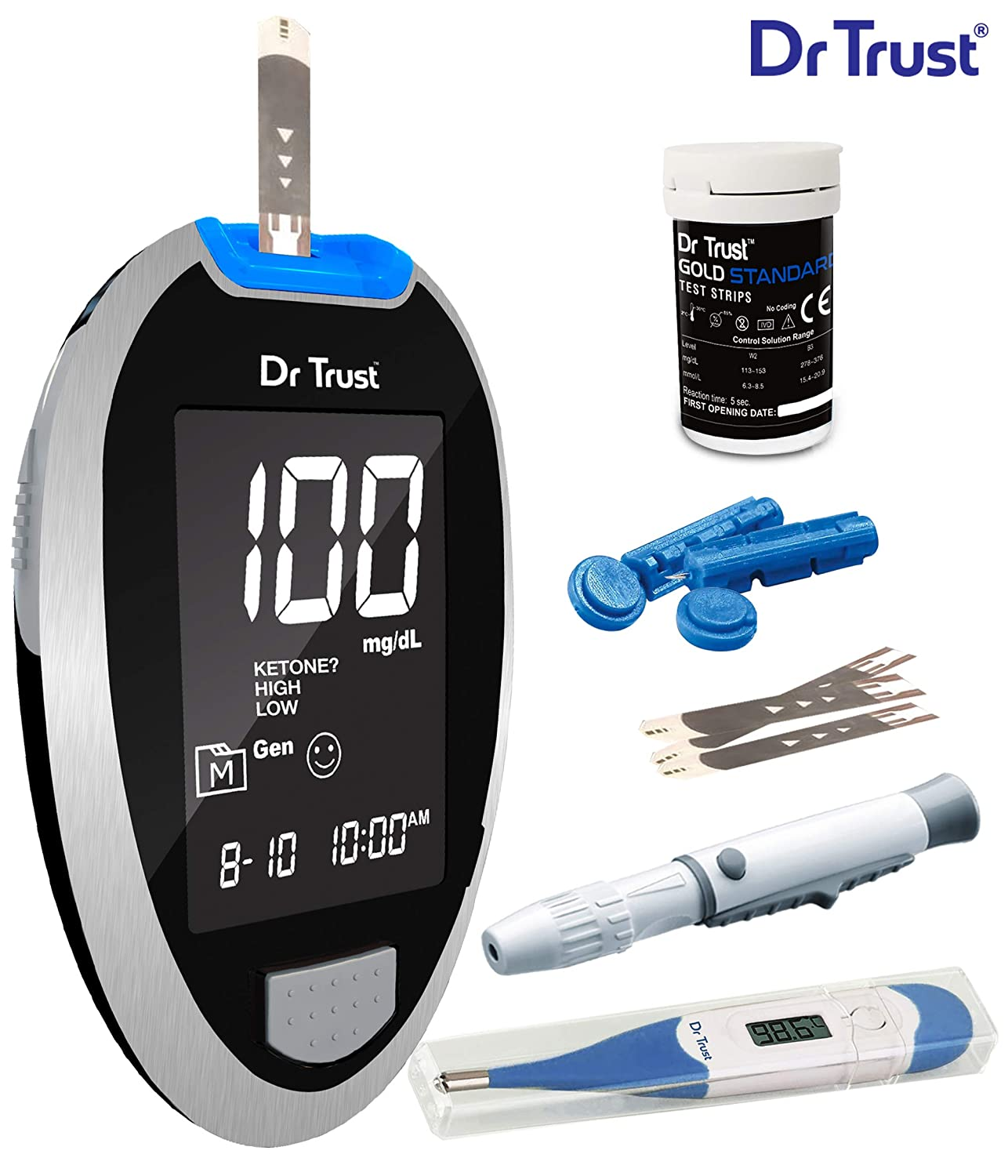 Dr Trust Fully Automatic Blood Sugar Testing Glucometer