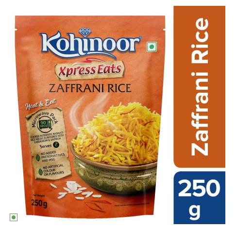 Kohinoor Xpress Eats, Ready-to-Eat Zaffrani Rice, 250 g Microwave Pack