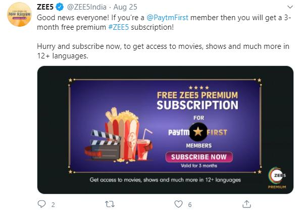 paytm zee5 offer