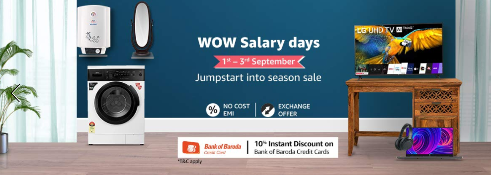 Amazon WOW Salary Days Sale: Get Up to 60% Off [1st-3rd September]