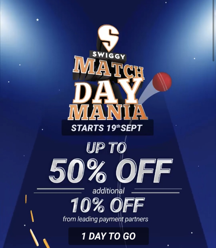 Swiggy Match Day Mania Offer: Get Up To 50% Off