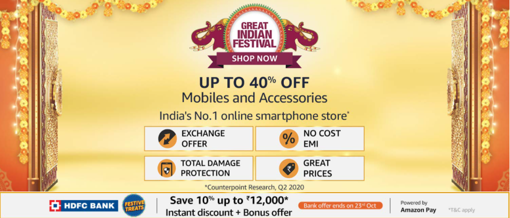Amazon Great Indian Sale on Mobiles - Get Upto 40% OFF + Extra 10% OFF