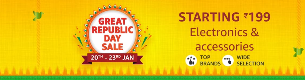Amazon Great Republic Day Sale on Electronics 2020: Up to 60% Off + 10% Instant Discount