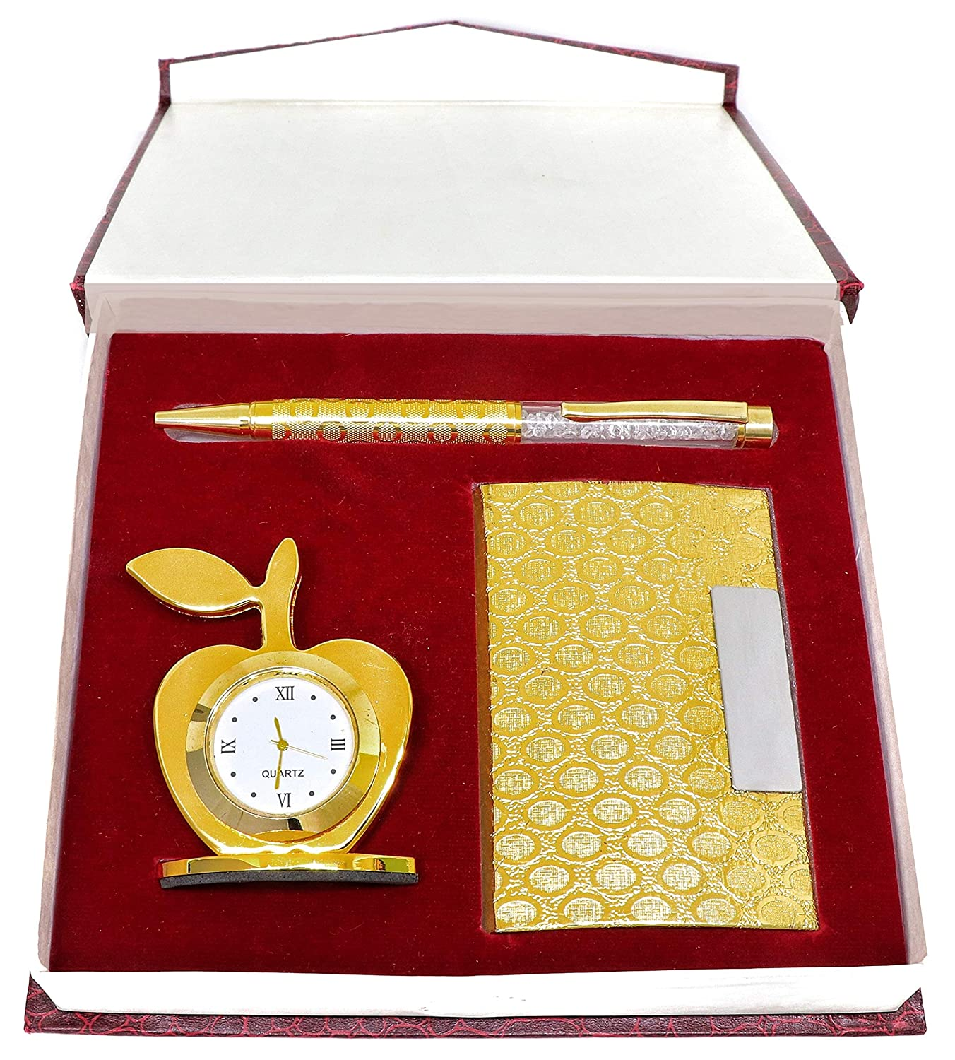 3 in 1 Apple Shape Clock, Card Holder with Premium Metal Pen