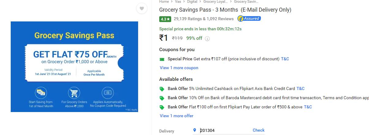Flipkart Grocery Savings Pass